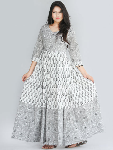 Saima - Grey Black White Hand Block Printed Box Pleated Long Dress - D398F2240