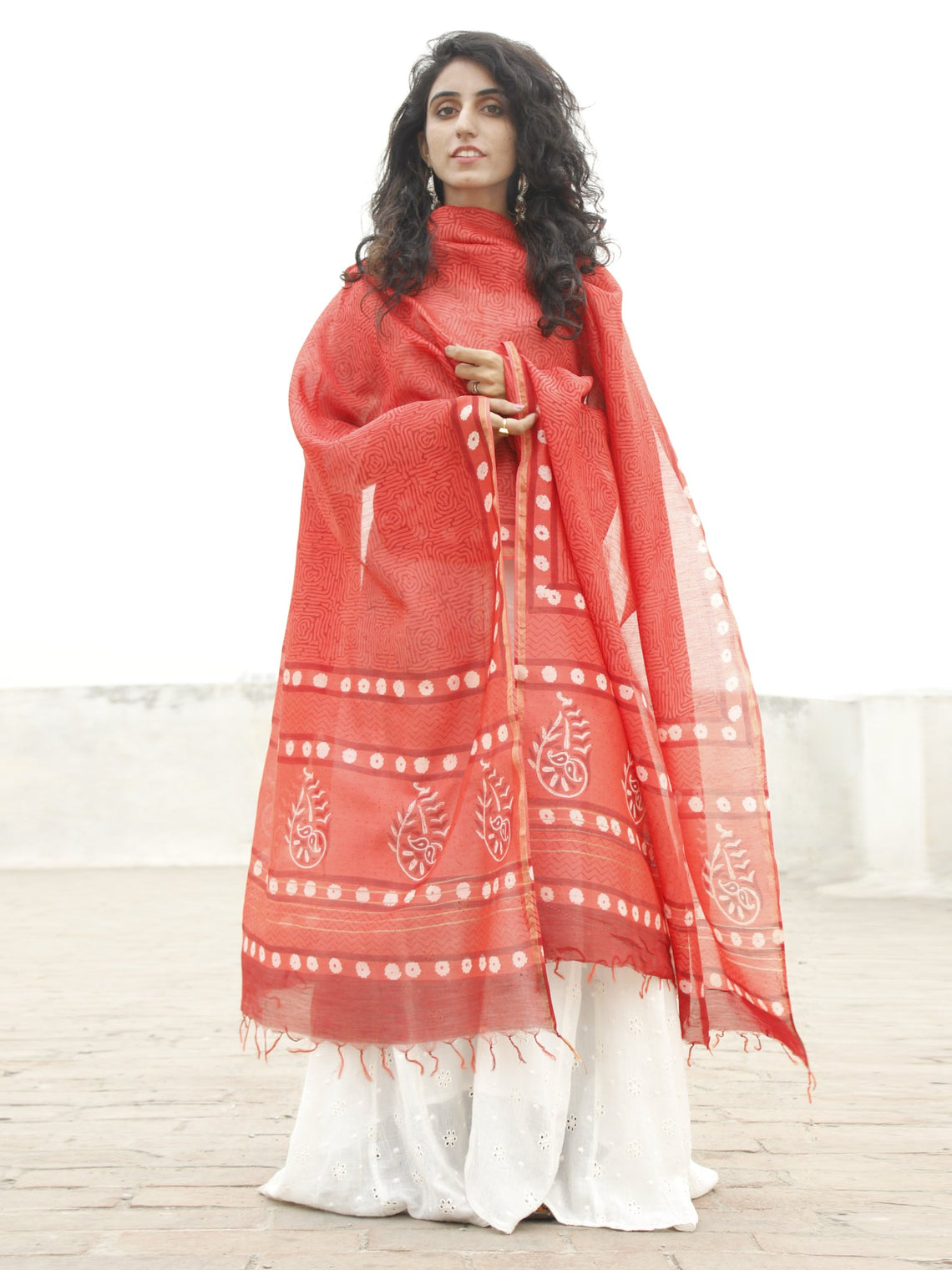 Red Maroon White Chanderi Hand Black Printed & Hand Painted Dupatta - D04170218