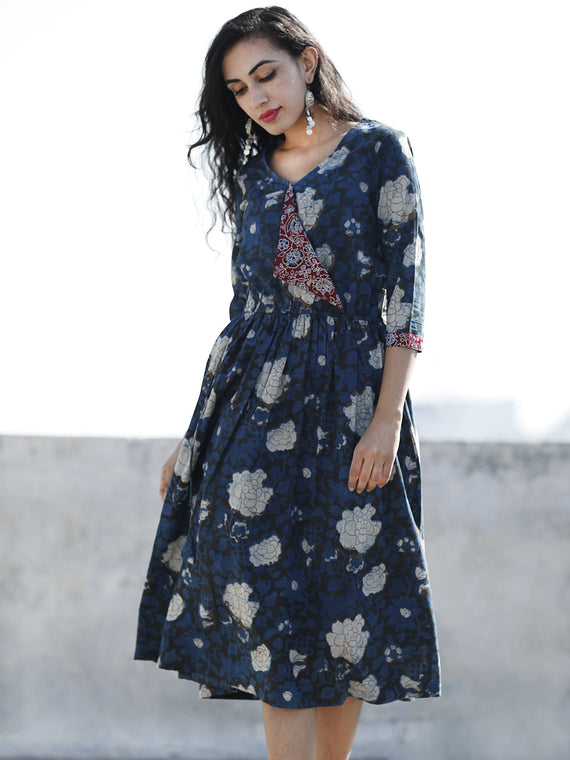 Indigo Black Ivory Maroon Hand Block Printed Cotton Angrakha Dress With Elasticated Waist - D96F882