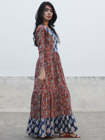 Red Indigo Ivory Black Hand Blocked Cotton Tier Dress  - D139F1071