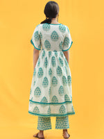 Ersheen - White Green Printed & Sequenced Kurta Pant Set  - SS02F2020