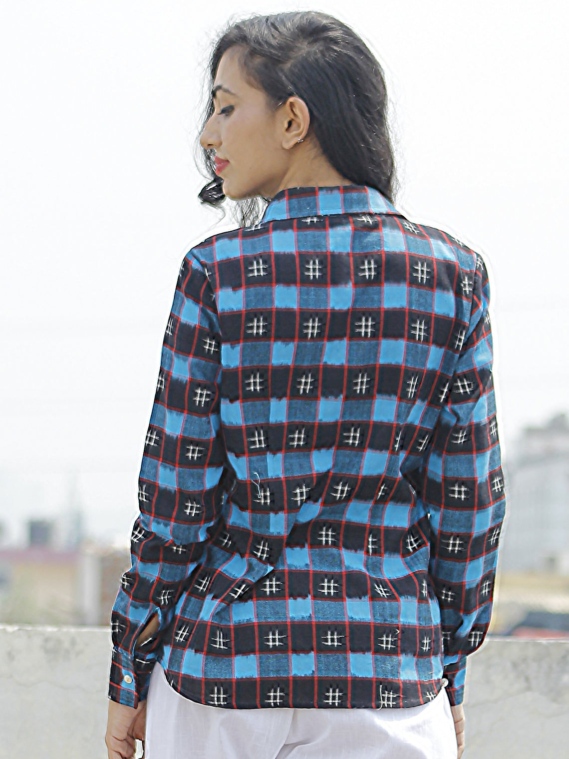 Black Blue Red Ivory Hand Woven Double Ikat Shirt  - T21F823