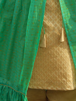 Green Golden Two Piece Brocade And Chanderi  Kurta (Set of 2) - D130F001