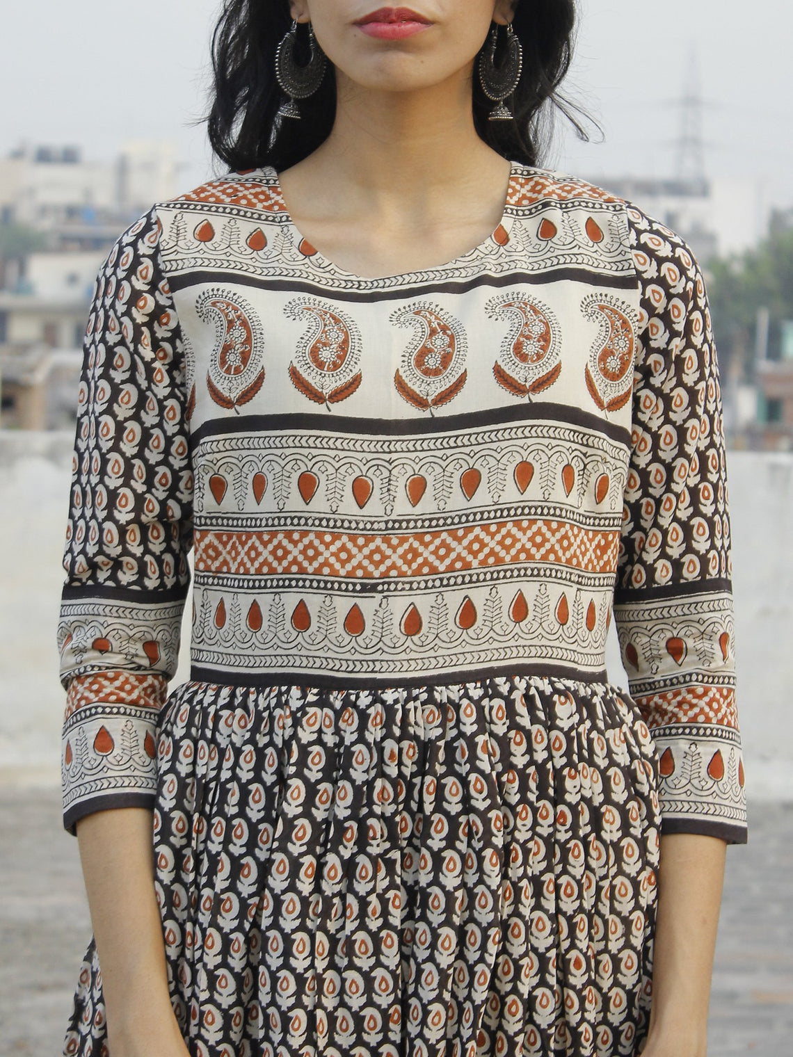 Naaz Saaj - Beige Black Maroon Hand Block Printed Dress With Gathers -  DS36F002
