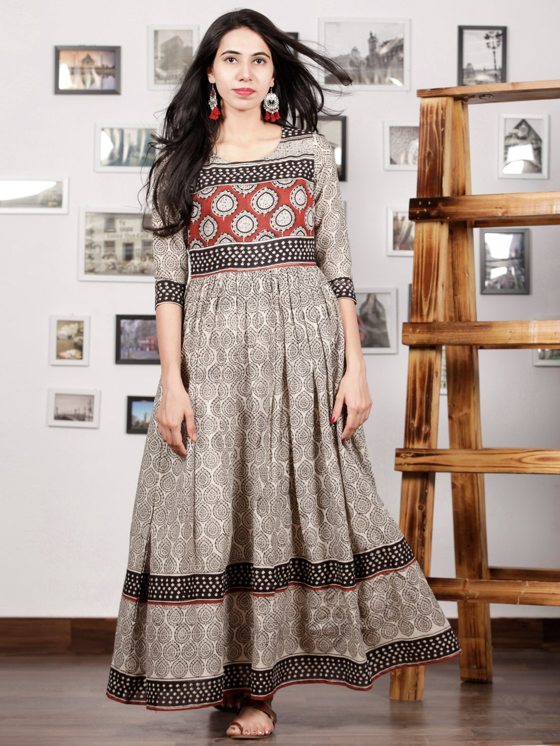 Naaz Kafeeya - Ivory Red Black Hand Block Printed Long Cotton Tier Dress With Gathers & Lining - DS53F001
