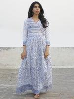 Naaz - Blue White Grey Magenta Hand Block Printed Long Angrakha Dress -  DS38F001