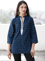 Indigo Black Neck Embroidered Hand Block Printed Cotton Top  - T67F1892