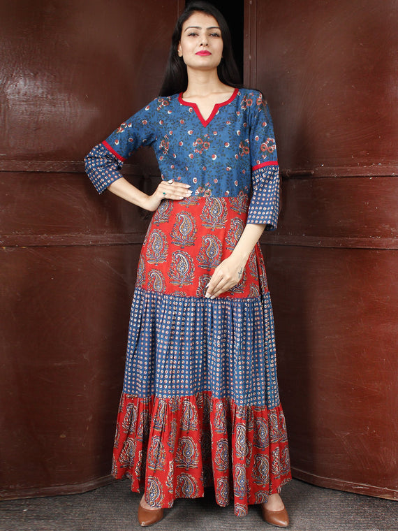 TIERED BLOCKS - Hand Block Printed Long Cotton Dress - D346F1827