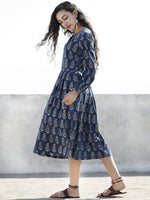 Indigo White Rust Hand Blocked Cotton Dress With Knife Pleats And Side Pockets  - D158F990