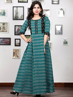 Teal Green Black Grey Handloom Mercerised Ikat Long Cotton Dress With Princess Cut - D279F1421