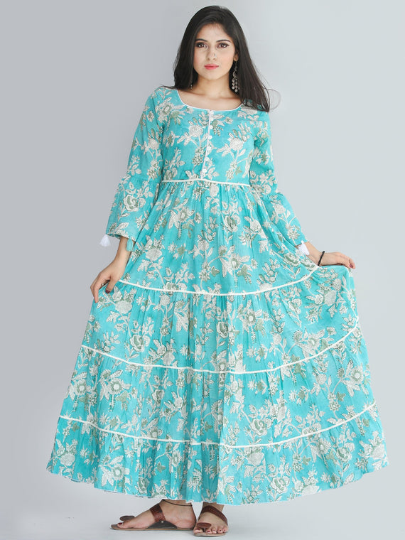 Ruhma - Hand Block Printed Tiered Long Dress With Lace - D410F2030