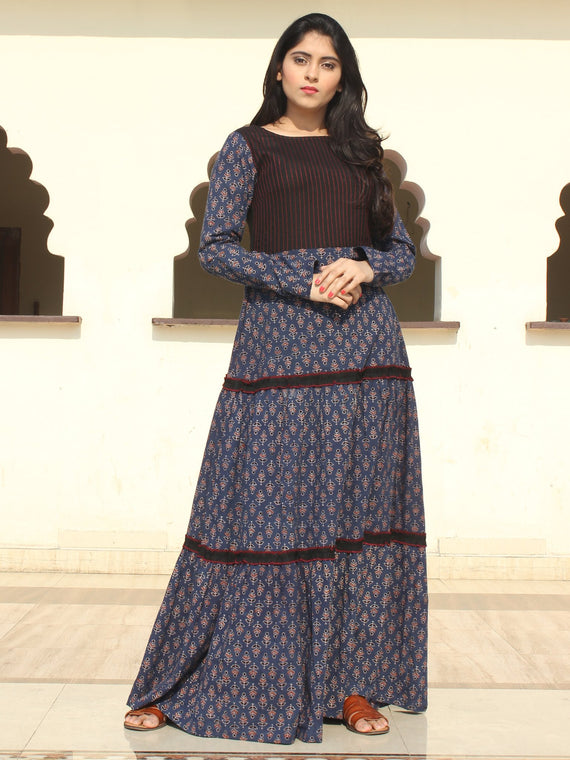 Firoza - Ajrakh Hand Block Printed Long Tiered Dress - D402F1517