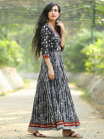Naaz Monochrome  - Hand Block Printed Long Cotton Angrakha Dress  - DS75F001