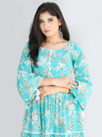 Gulzar Ruhma - Hand Block Printed Tiered Long Dress With Lace - D410F2030