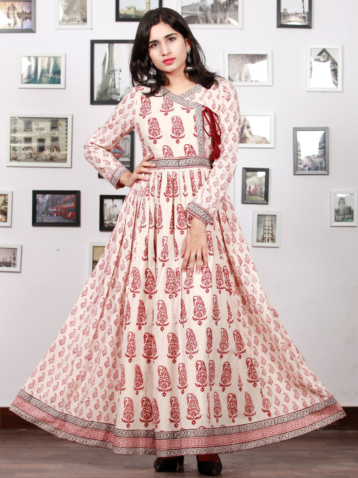 6bc431739 White Red Black Bagh Printed Cotton Long Angrakha Dress With Gathers -  D298F1719 ...