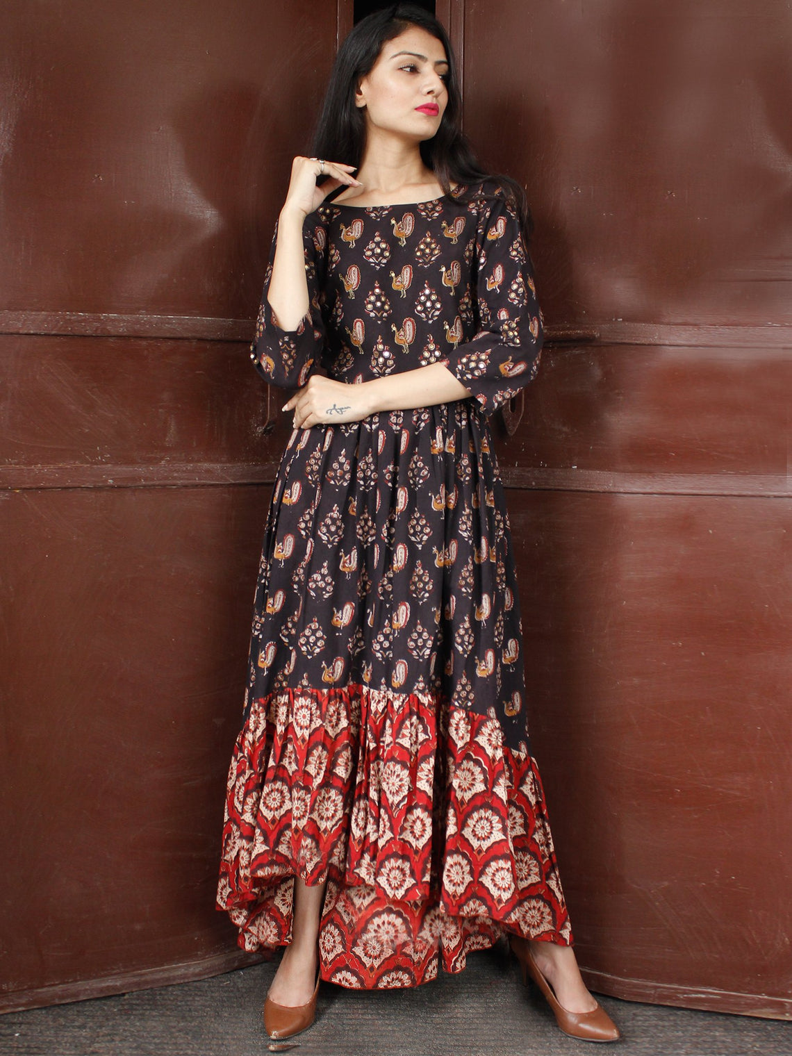 Peacock Motif - Hand Block Printed Long Sequence Embroidered Dress - D274F1810