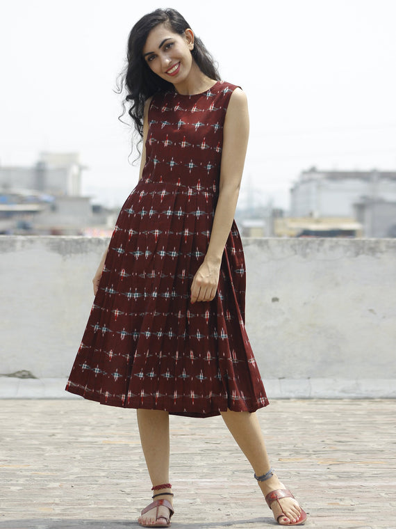 Maroon Green Red Ivory Handwoven Double Ikat Pleated Sleeveless Dress With Back Zip  - D65F664