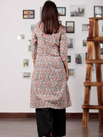 Beige Red Blue Ajrakh Hand Block Printed Kurta With Stand Collar - K52BP0110