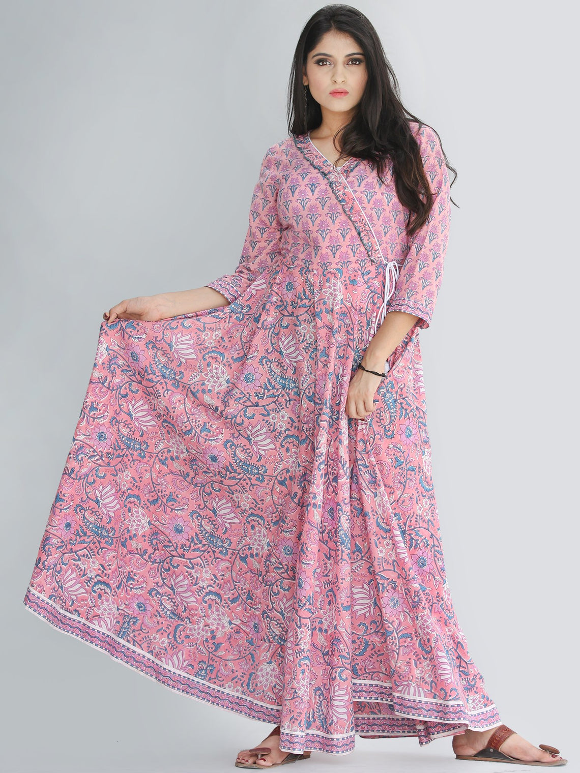 Gulzar Turfa - Hand Block Printed Angrakha Long Dress - D411F2232