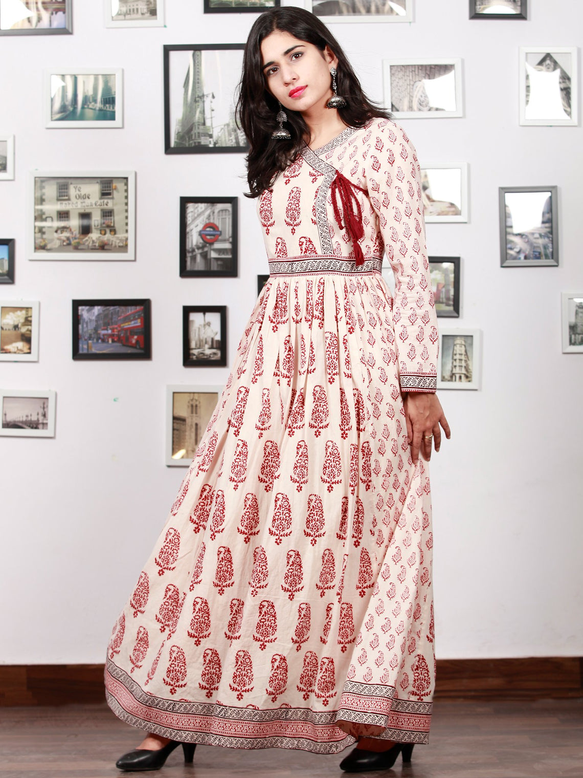 White Red Black Bagh Printed Cotton Long Angrakha Dress With Gathers - D298F1719