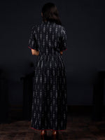 Indigo White Mergenta Long Handwoven Ikat Dress With Collar & Side Pockets - D313F1472