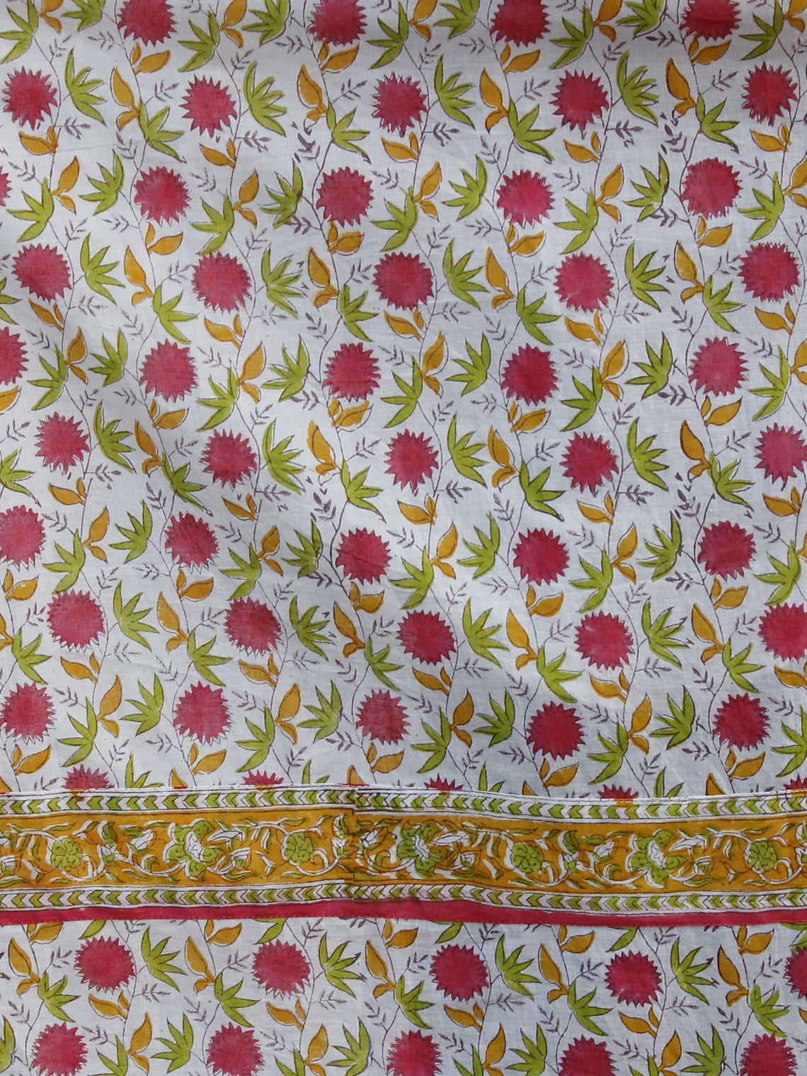 Naaz - White Pink Orange Green Hand Block Printed Long Cotton Dress With Stand Collar -  DS39F001