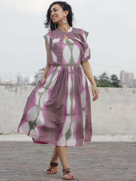 Naaz Lilly - Lilac Pink Olive White Tie Dye Dress With Jacket - DS22F001