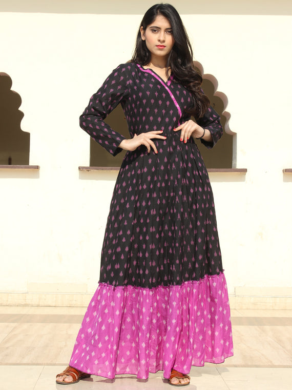 Veeda - Purple Black Handloom Silk Cotton Ikat Long Tier Dress With Gathers - D169F1855