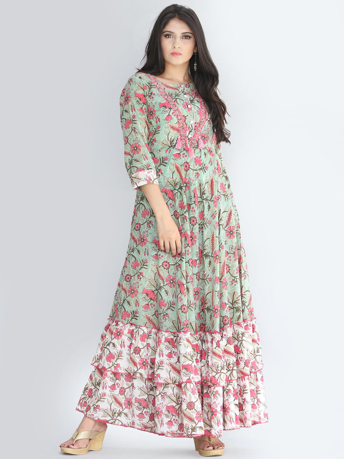 Fariba - Hand Block Printed Long Cotton Dress With Ruffles - D412F2187