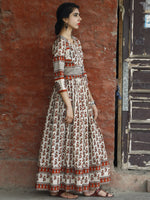 Naaz Asma - Ivory Maroon Grey Hand Block Printed Long Cotton Dress With Gather & Lining - DS01F001