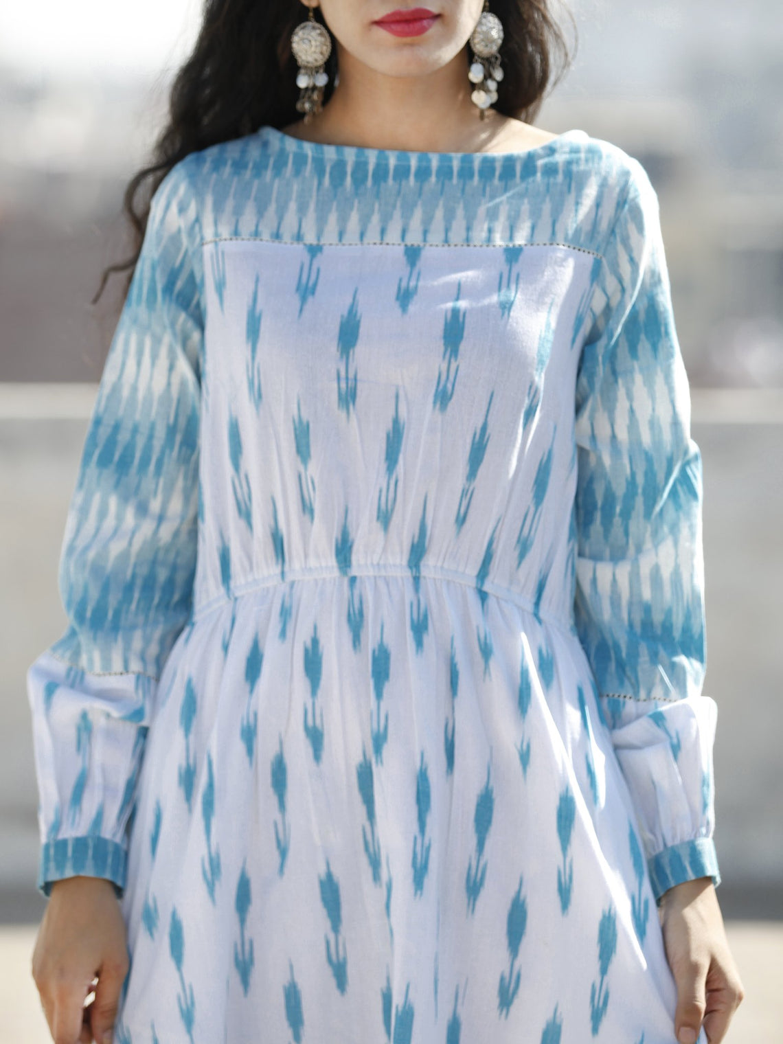 White Sky Blue Hand Woven Cotton Ikat Midi Length Dress With Peasant Sleeves  - D109F814