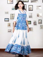 White Indigo Blue Hand Block Printed Long Tier Dress With Pin Tucks - D221F1498
