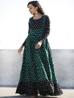 Green Black Ivory Hand Woven Mercerized Cotton Ikat Tier Dress - D135F1289