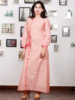 Off White Mustard Wine Pink Handloom Mercerised Ikat Long Cotton Dress With Side Pockets & Tassels - D300F1567