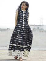 Black Ivory Handwoven Ikat  Sleeveless Dress With Side Pockets-  D107F661