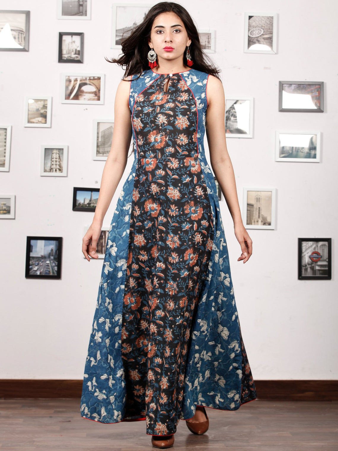 INDIGO RUST - Hand Block Printed Cotton Long Dress  - D327F1399