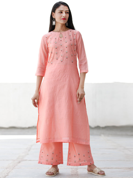 Zari Garden - Peach Silver Chanderi  Kurta & Pants Sets  - Set of 2  - SS01F054