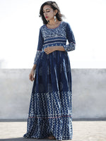 Naaz - Indigo White Hand Blocked Cotton Long Dress With Highlighted Neck - DS46F001