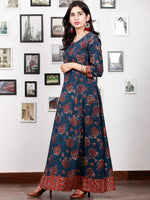 Indigo Rust Red Hand Block Printed Long Cotton Dress With Back Knots - D162F1341