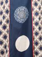 Indigo Kashish White Ajrakh Hand Block Printed Kurta in Natural Colors - K124F1506
