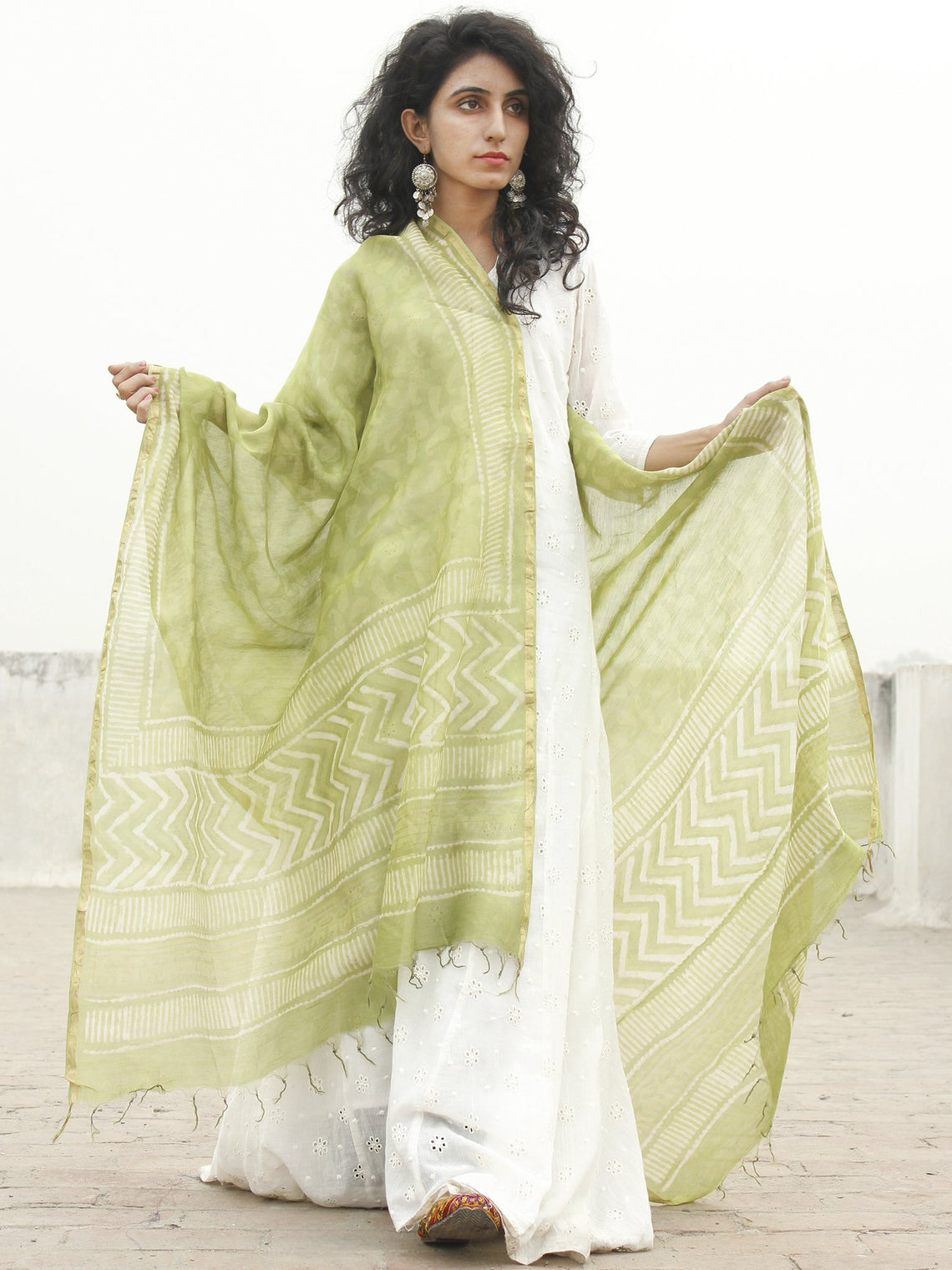 Asparagus green White Chanderi Hand Black Printed & Hand Painted Dupatta - D04170222
