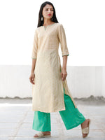 Beige Green Golden Chanderi Silk Kurta & Pants Sets  - Set of 2  - SS01F071