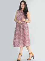 Gulinar - Block Printed Sleeveless Cotton Dress With Stand Collars and Knife Pleats- D72F1872