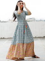 Sea Green Pink Yellow Hand Block Printed Long Dress With Tie Up Waist - D170F1845