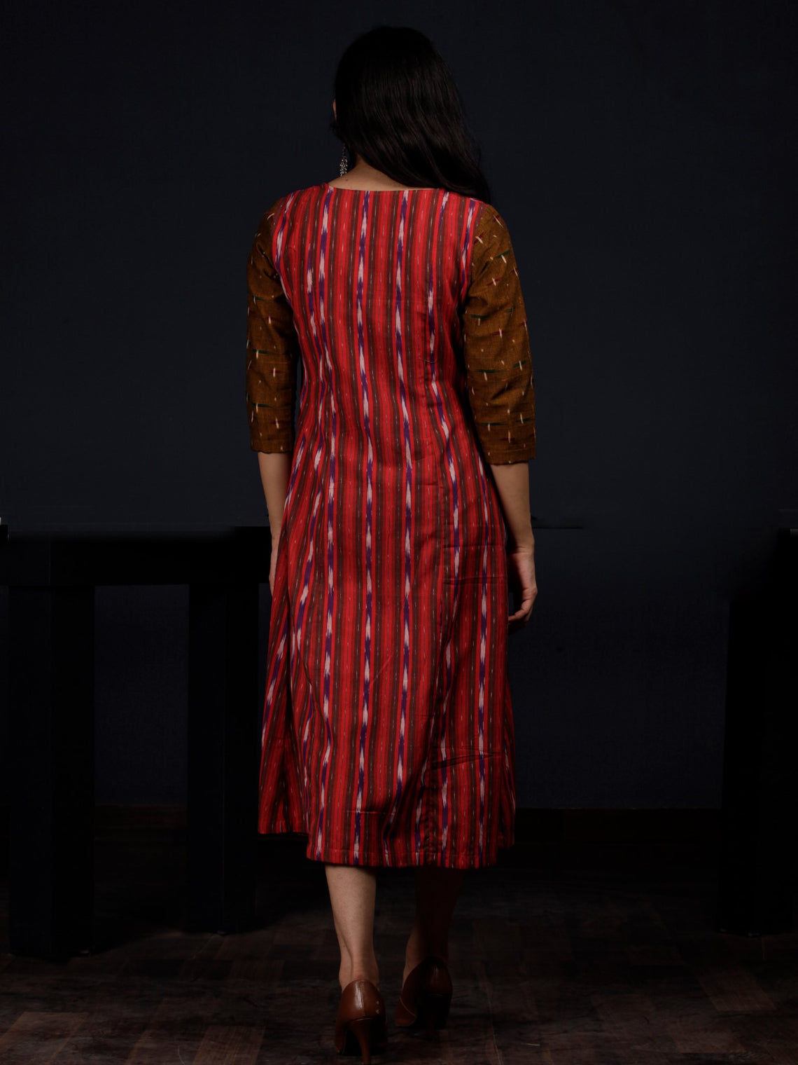 Crimson Purple Brown White Handloom Ikat Cotton Dress - D111F1260