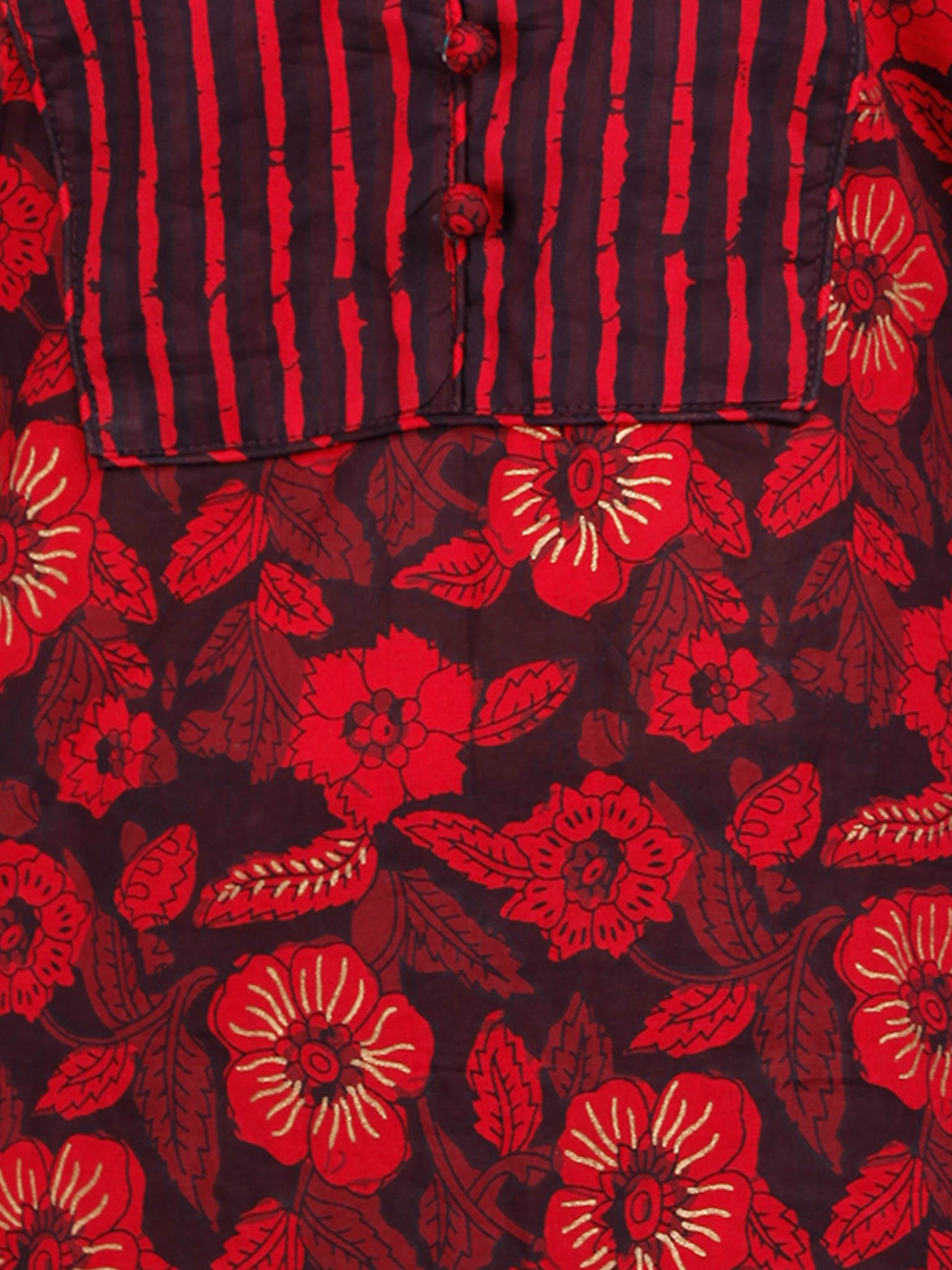 Red Black Cotton Block Printed Kurta & Pants - Set of 2 - SS01F1938