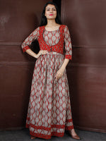 MUGHAL RETREAT - Hand Block Printed Long Cotton Dress With Sequence & Golden Zari Embroidery- D341F1811