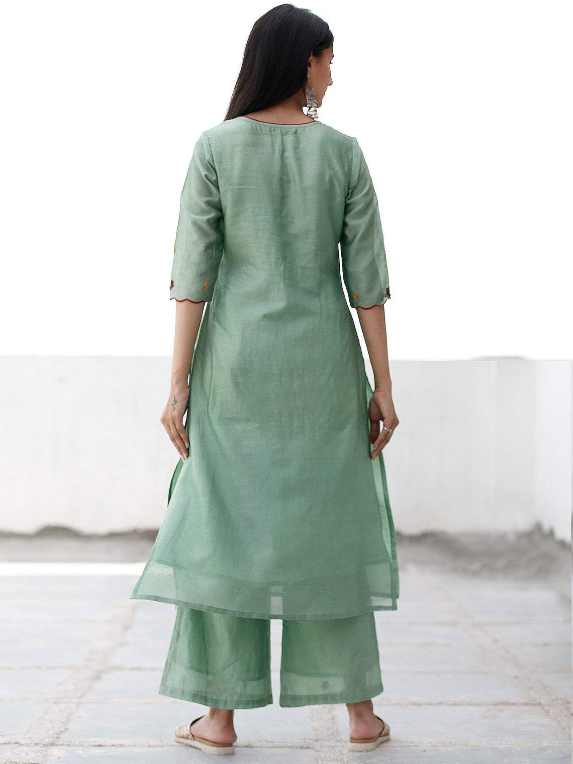 Festive Dressup - Sage Green Maroon Chanderi  Kurta & Pants Sets  - Set of 2  - SS01F055
