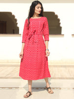 Naaz - Red White Double Ikat Cotton Midi Dress - D403F1948