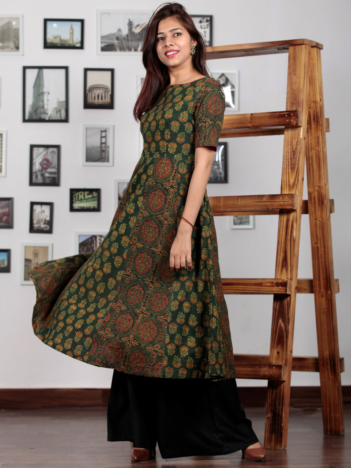 Pine Green Yellow Red Black Ajrakh Hand Block Printed Kurta  - K64BP0132